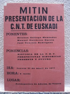 Mitin presentación de la CNT de Euskadi, 21-4-1977