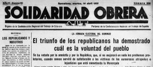 Recorte de la portada de Solidaridad Obrera 14 de abril de 1931