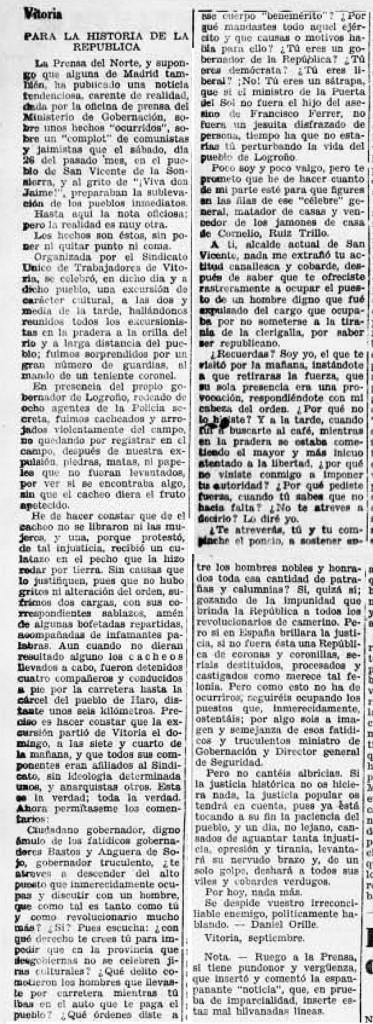 Recorte Solidaridad Obrera 6-10-1931