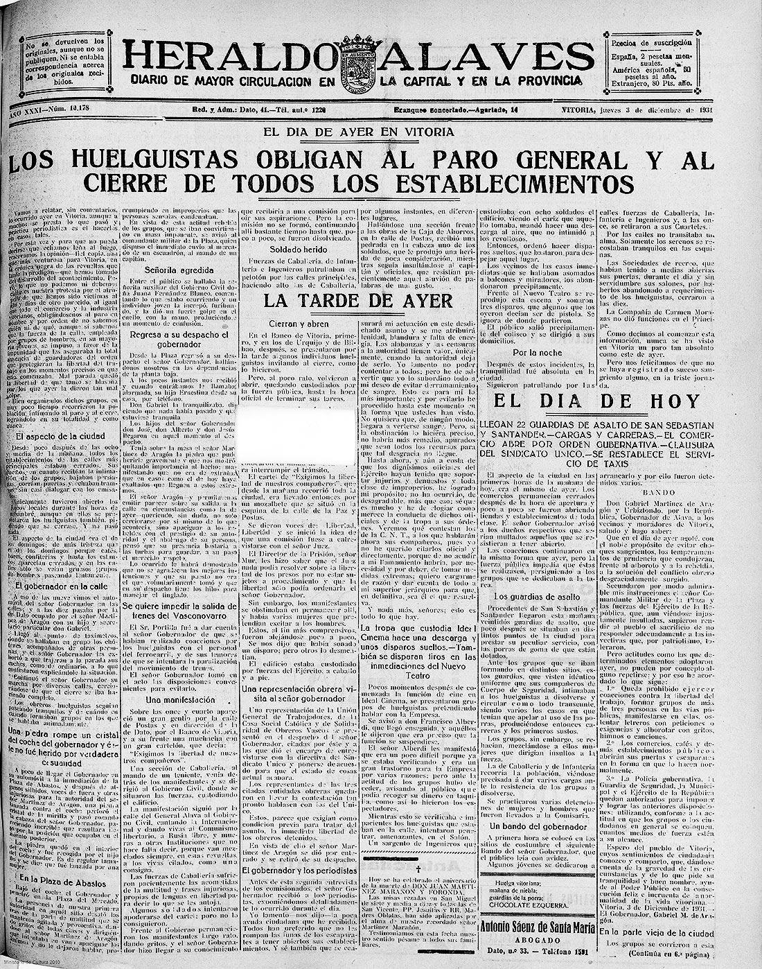 LA HUELGA GENERAL DE DICIEMBRE DE 1931 Y EL FIN DE AÑO - Álava Libertaria