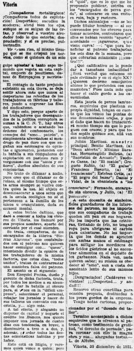 Recorte Solidaridad Obrera 7-1-1932