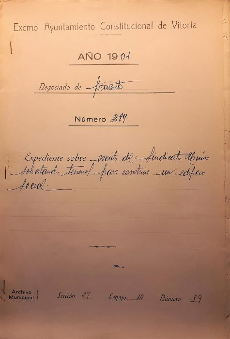 16-11-1931. CNT Sindicato Único de Vitoria. Solicitud solar para local social. Portada expediente
