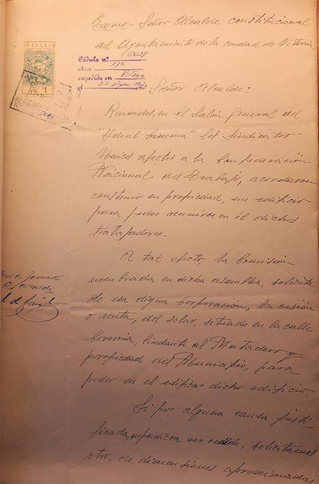 16-11-1931. CNT Sindicato Único de Vitoria. Solicitud solar para local social. Escrito Sindicato primera página