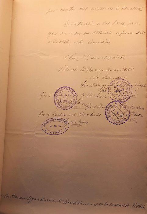 16-11-1931. CNT Sindicato Único de Vitoria. Solicitud solar para local social. Escrito Sindicato segunda página