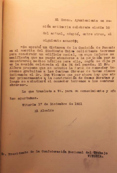 17-12-1931. CNT Sindicato Único de Vitoria. Solicitud solar para local social. Respuesta definitiva del alcalde